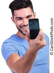 image, sien, prendre, téléphone, propre, intelligent, homme