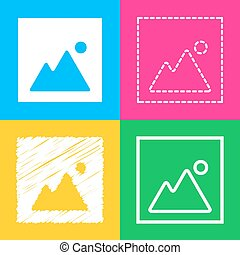 Image sign illustration. Four styles of icon on four color squares.