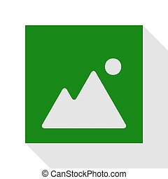 Image sign illustration. Green icon with flat style shadow path.