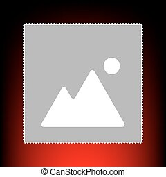 Image sign illustration. Postage stamp or old photo style on red-black gradient background.