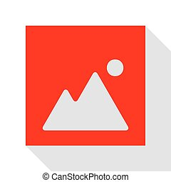 Image sign illustration. Red icon with flat style shadow path.