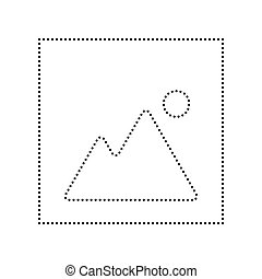 Image sign illustration. Vector. Black dotted icon on white background. Isolated.