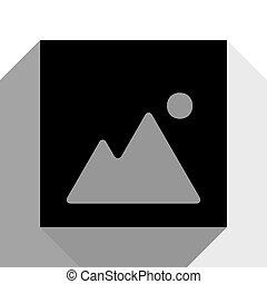 Image sign illustration. Vector. Black icon with two flat gray shadows on white background.