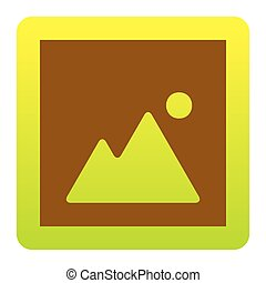Image sign illustration. Vector. Brown icon at green-yellow gradient square with rounded corners on white background. Isolated.