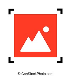 Image sign illustration. Vector. Red icon inside black focus corners on white background. Isolated.