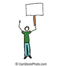 image, signe, tenue, vide, icône, dessin animé, homme