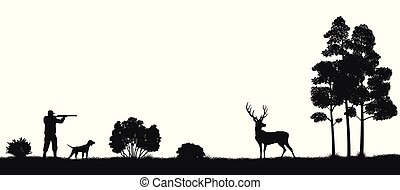 image, silhouette, chasse, nature, chasseur, chien, forest., deer., noir, sauvage