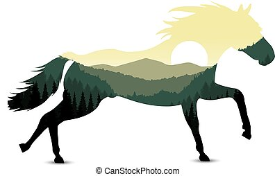silhouette of horse