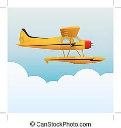 image., sky., gele, seaplane., vliegtuig, vector