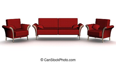 image., sofa cuir, deux, armchairs., interior., rouges, 3d
