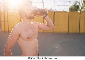 image, sportasman, nutrition, athlétique, sans chemise,...
