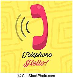 image, téléphone, jaune, téléphone, vecteur, fond, récepteur, bonjour