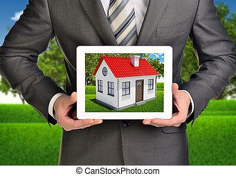 image, tablette, maison, écran, toit, pc., mains, petit, prise, rouges