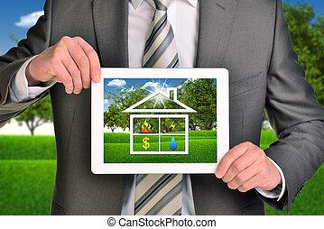 image, tablette, maison, deux, pc, tenant mains, icône