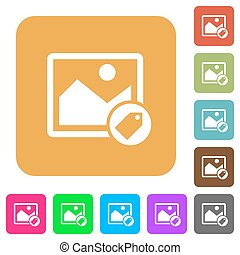 Image tagging rounded square flat icons