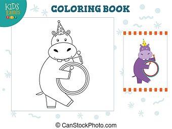 image, tambour, exercise., hippopotame, illustration, couleur, rigolote, vecteur, copie, dessin animé