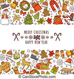 image, texte, invitation, main, endroit, fond, vendange, illustrations, dessiné, cartes., ton, noël