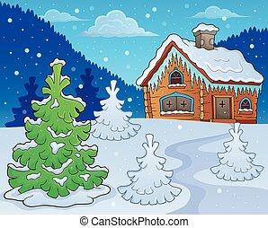 image, thème, 2, hiver, petite maison
