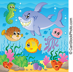 image, thème, 3, sous-marin