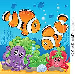 image, thème, 4, sous-marin