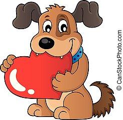 image, thème, chien, 1, valentin