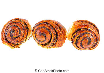 three tasty rolls buns with poppy seeds on a white background