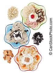 top view image of three assorted flavors of ice cream