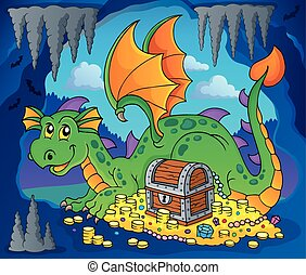 image, trésor, 3, thème, dragon