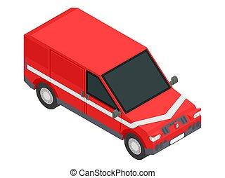 image, transport, rouges, stockez voiture, marchandises, isométrique, vecteur