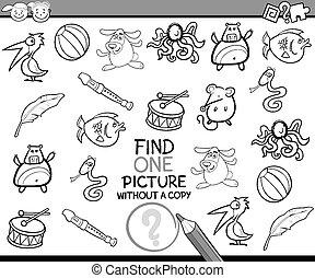 image, unique, jeu, dessin animé, trouver