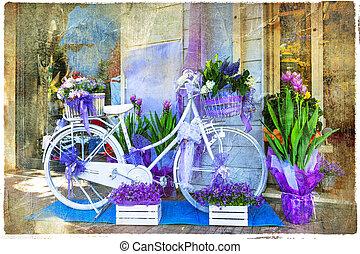 image, vélo, -, charmer, décoration, rue, artistique, vendange, floral