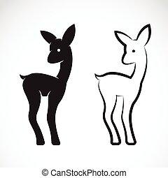 image, vecteur, cerf, fond blanc