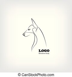 image, vecteur, chien, fond, blanc