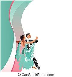 image, vecteur, couple., danse