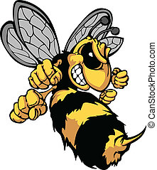 image, vecteur, dessin animé, frelon, abeille