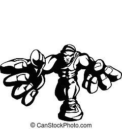 image, vecteur, dessin animé, lutteur