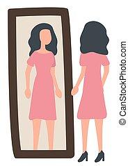 image, vecteur, femme, robe, essayer, miroir