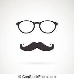 image, vecteur, fond, blanc, moustache, lunettes