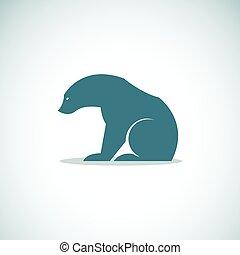 image, vecteur, fond, ours, blanc