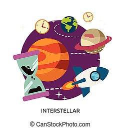 image, vecteur, interstellaire, espace