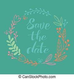 image, vecteur, mariage, date, cercle, sauver