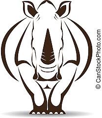 image, vecteur, rhinocéros