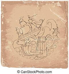 image, vieux, papier, motif, mer