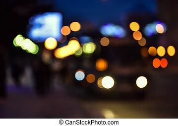 image, ville, résumé, brouillé, lumières, nuit