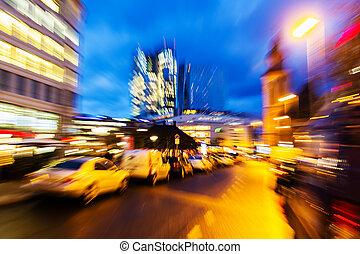 image, ville, scène abstraite, zoom, rue, nuit