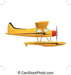 image., vrijstaand, gele, seaplane., achtergrond., vector, ...