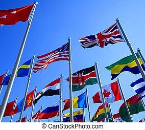 image, vue, beau, drapeaux