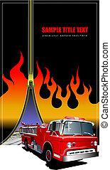 image., vuur, dekking, illustratie, vector, informatieboekje , zipper