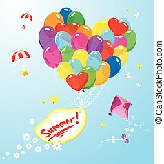 Image with colorful balloons in heart shape and banner with word