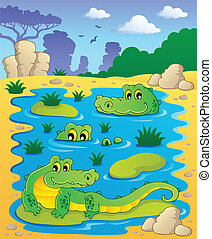 Image with crocodile theme 2 - vector illustration.